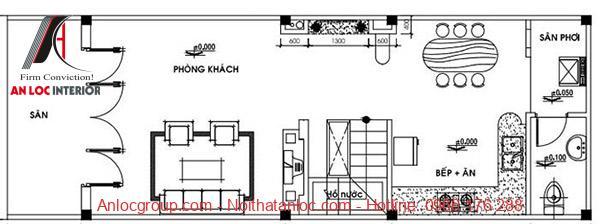 Bản vẽ tầng 1 nhà cấp 4 có gác lửng