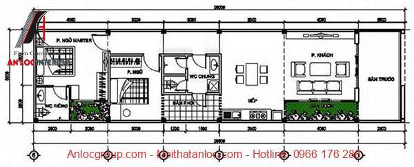 Bản vẽ nhà cấp 4 5x20m trệt 3 phòng ngủ