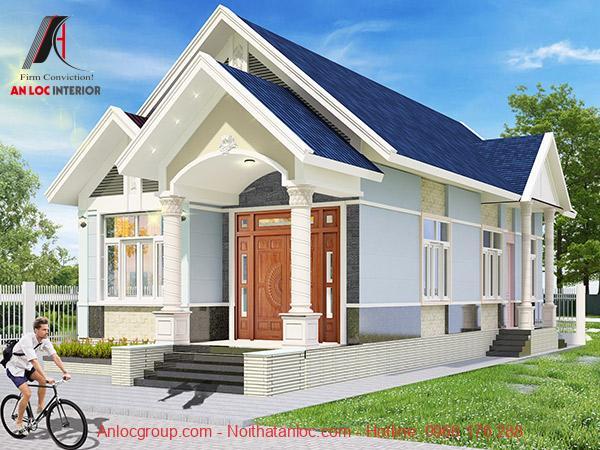 thiết kế nhà cấp 4 6x12 hiện đại mái thái màu xanh