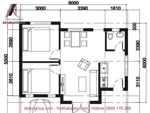 Bản vẽ nhà cấp 4 mái tôn
