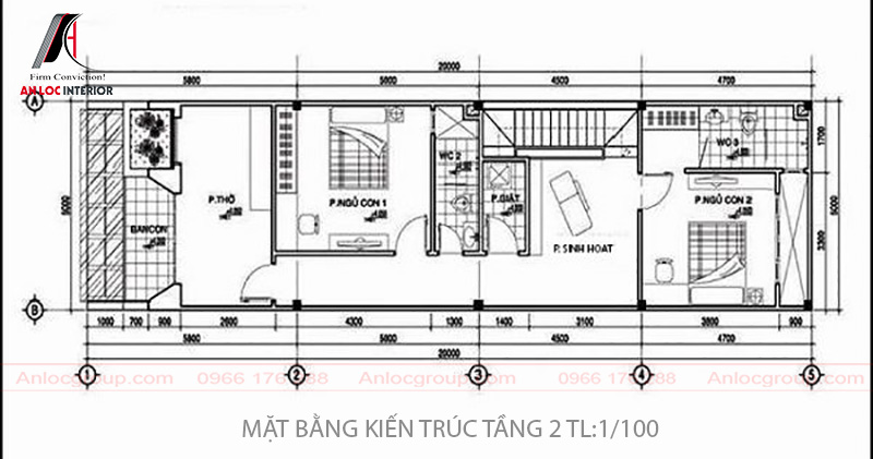 Bản vẽ thiết kế nhà ống tầng 2 bao gồm 2 phòng ngủ, phòng thờ, phòng sinh hoạt