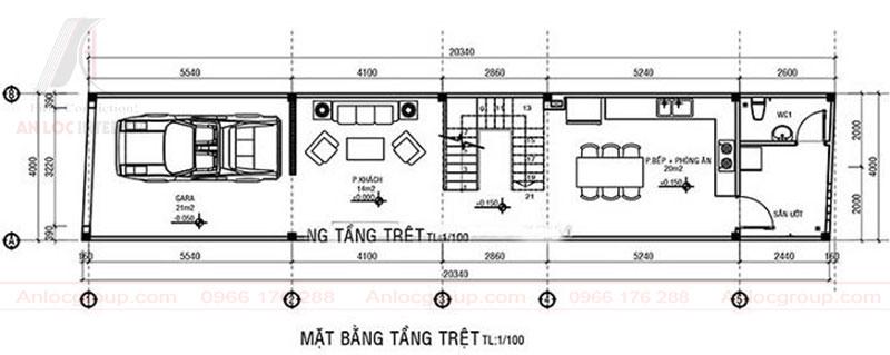 Cách bỗ trí khu vực để xe lkết hợp với phòng khách, phòng ăn ở tầng 1