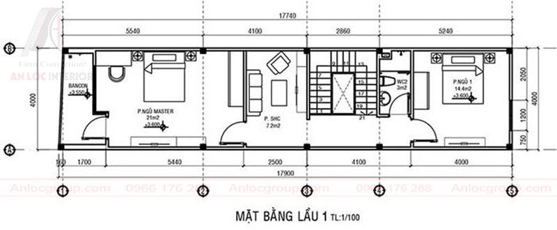 Không gian bố trí hài hòa phù hợp với diện tích nhà