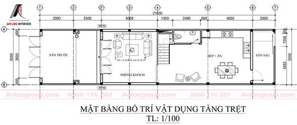 Kiến trúc nhà ống 3 tầng 5x21m