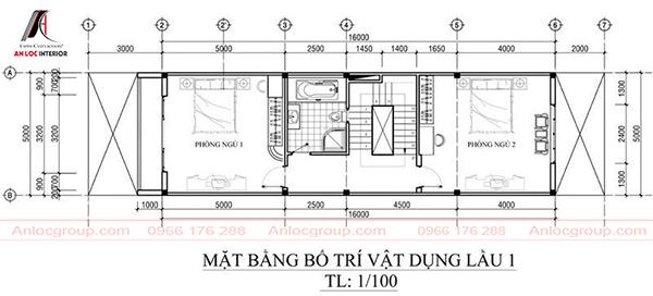 Bản vẽ nhà ống 3 tầng 5x21m
