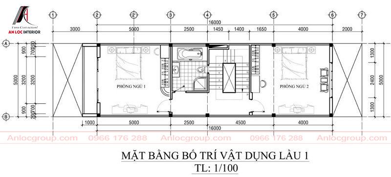 Bản vẽ mặt bằng tầng 2 nhà phố 3 tầng 5x21m