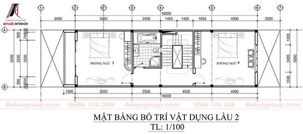 Nhà ống 3 tầng 5x21m tầng 2