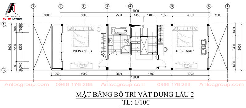Bản vẽ mặt bằng tầng 3 với cách chia khoảng cách và đặt các vật dụng cần thiết