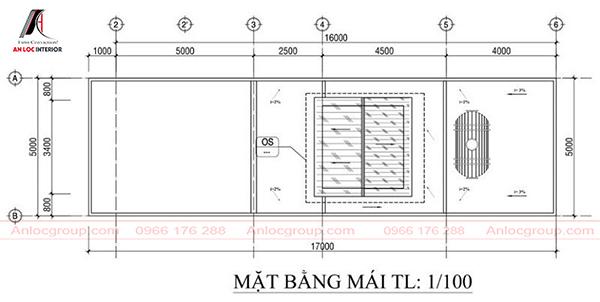 Bố trí nhà ống 3 tầng 5x21m tầng 3