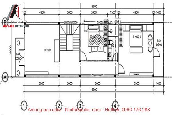Bản vẽ nhà ống 3 tầng