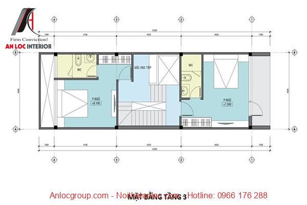 Kiến trúc nhà ống 3 tầng lệch