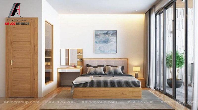 Màu sắc phòng ngủ hài hòa, xây dựng từ những nét dịu nhẹ mang đến khu vực nghỉ ngơi ấn tượng