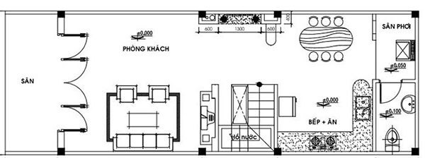 Bản vẽ nhà cấp 4 với các phòng chức năng được phân chia hợp lý