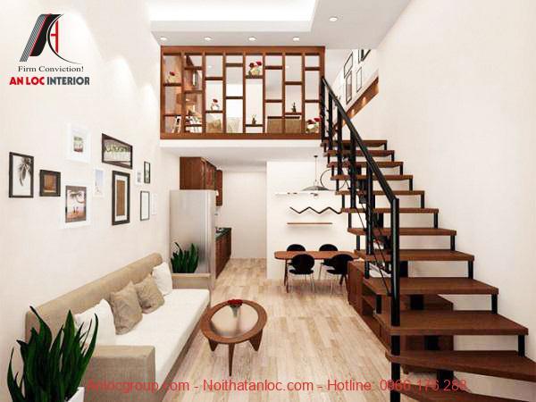 Gác lửng được bố trí hài hòa với không gian mà không ảnh hưởng đến diện tích căn nhà