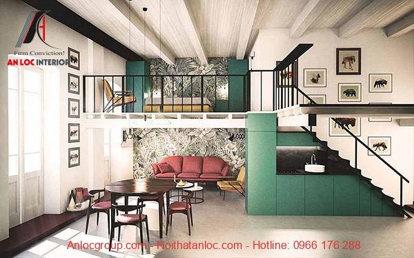 Màu sofa kết hợp với nội thất tầng lửng tạo nên sự phối hợp tinh tế
