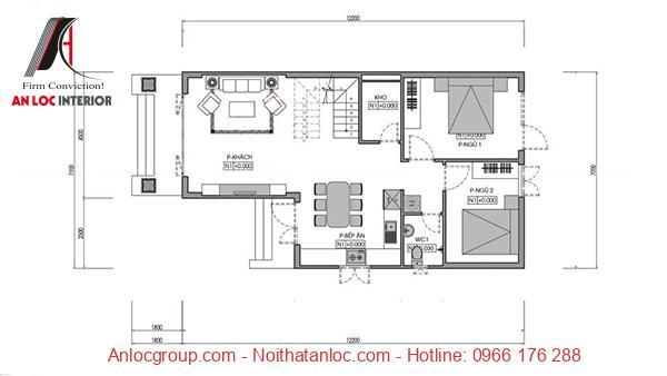 Phòng khách, bếp, khu vực sinh hoạt chung được sắp xếp hài hòa