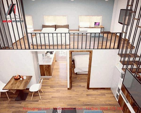 Nội thất phòng sử dụng tông màu trắng - nâu tạo nên tính tương phản về màu sắc