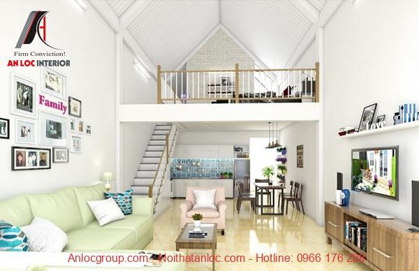 Gác lửng thường được bố trí hài hòa về màu sắc cũng như nội thất với không gian