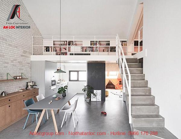 Tầng lửng có thể bố trí làm phòng ngủ, phòng chứa đồ hoặc phòng làm việc