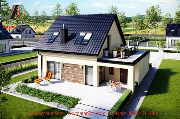 Nhà cấp 4 gác lửng mái thái xanh ấn tượng, hiện đại