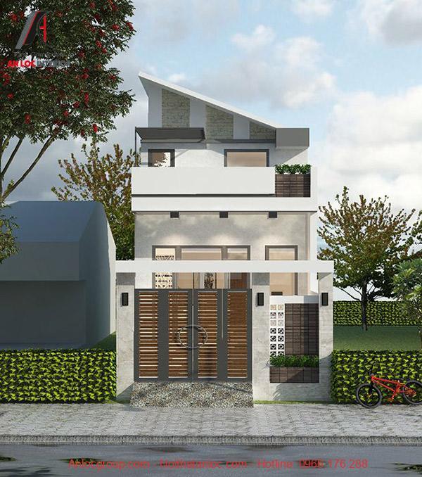Hình ảnh nhà có gác lủng được phối màu tinh tế, hiện đại