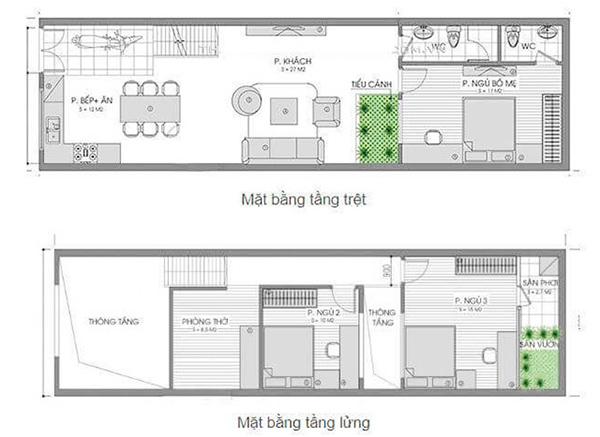 Bản vẽ nhà cấp 4 với tầng trệt và tầng lửng