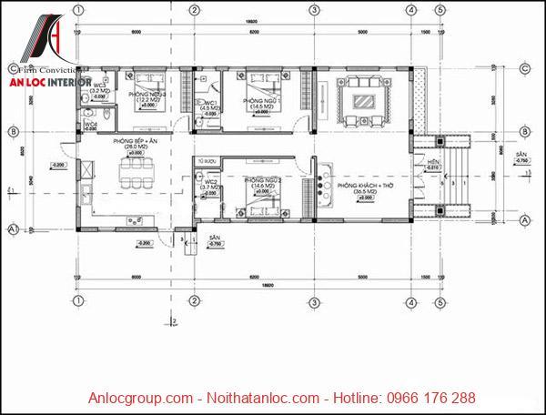 Bản vẽ nhà cấp 4 mái bằng 3 phòng ngủ đơn giản nhưng hài hòa