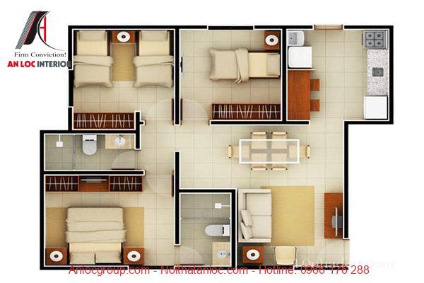# phòng ngủ được xây dựng với diện tích hợp lý cân bằng với diện tích tổng thể