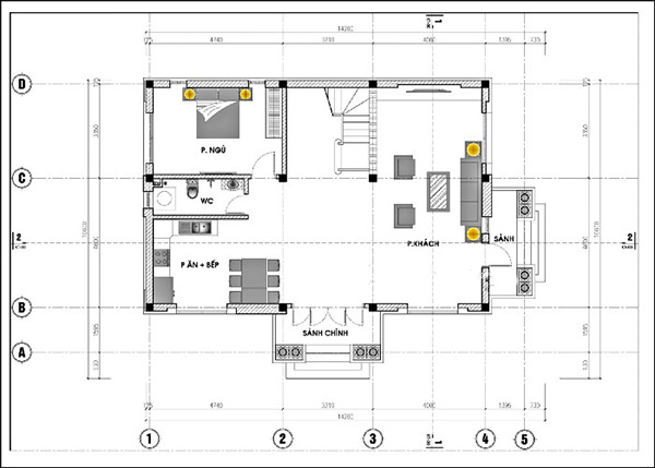 Bản vẽ nhà cấp 4 mái thái với các đường nét chi tiết, cụ thể