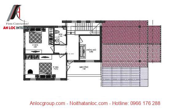 Mặt bằng bản vẽ nhà cấp 4 có gác lửng voiws kết cấu mái ấn tượng, hợp lý