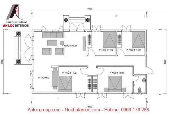 Bố trí phòng ngủ khoa học những vẫn phù hợp với diện tích căn nhà