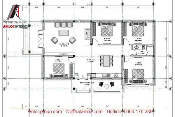 Bản vẽ nhà cấp 4 với kết cấu 4 phòng ngủ nhìn góc thẳng