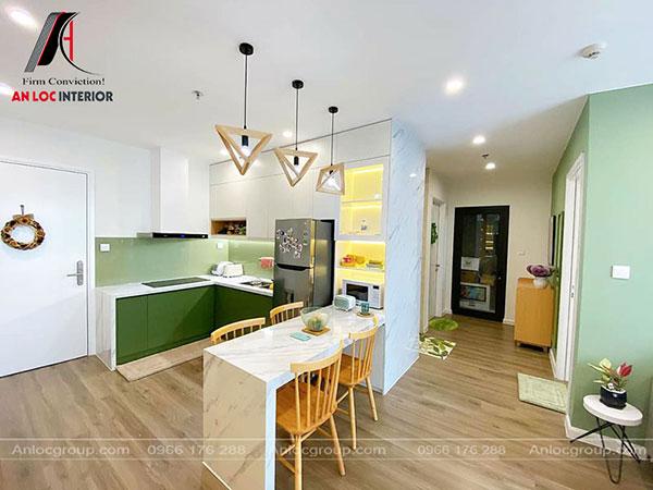 thiết kế nhà chung cư 60m2 đẹp - khu vực bếp
