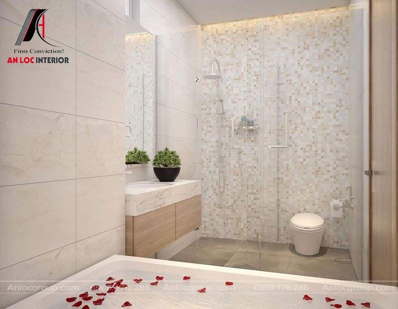 Bố trí bồn tắm giúp gia chủ có thể nghỉ ngơi bất cứ khi nào đồng thời mang đến vẻ đẹp ấn tượng cho không gian