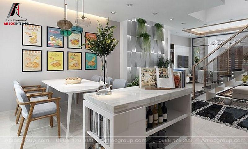 Phòng ăn đơn giản nhưng có sự phối hợp màu sắc đi kèm với các họa tiết trang trí ấn tượng