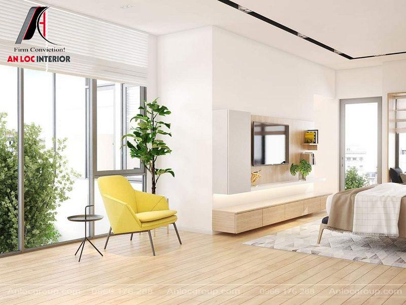 Cây xanh bố trí trong phòng kết hợp với tiểu cảnh bên ngoài tạo sự gần gũi, hòa hợp với thiên nhiên