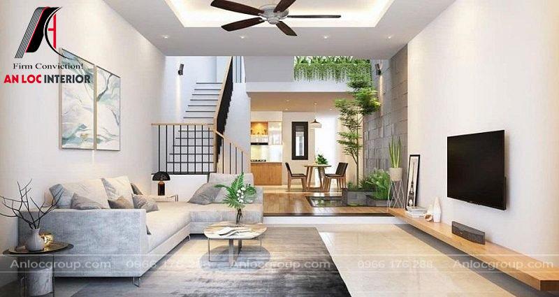 Nội thất phòng khách đơn giản nhưng vẫn đảm bảo công năng hiệu quả