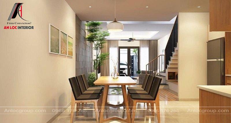Khu vực phòng ăn đơn giản, đồ nội thất hài hòa với phòng khách tạo nên không gian logic, kín kẽ