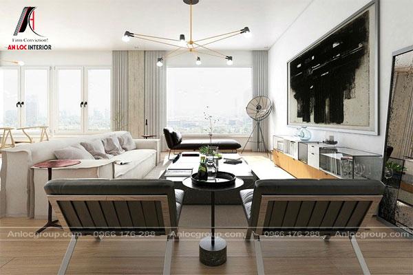 Phòng khách tối giản theo phong cách Bauhaus