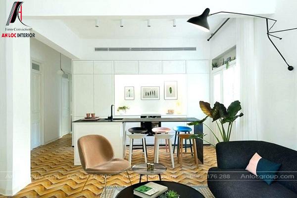 Phòng bếp mang phong cách nội Bauhaus được triển khai đồng bộ, mạch lạc