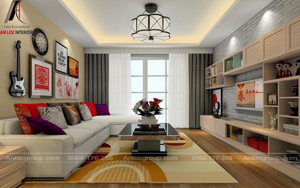 Phòng khách mang đậm phong cách Bauhaus với đồ nội thất tinh tế