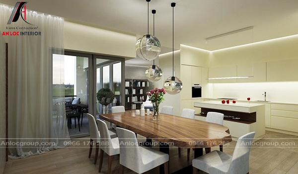 Khu vực nấu ăn mang đến sự tiện nghi, thuận tiện khi sử dụng