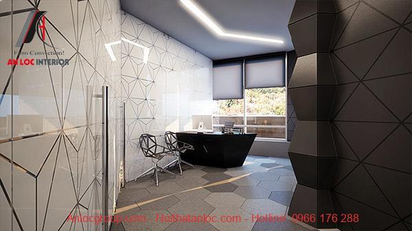 Phòng tắm phong cách Hitech với không gian ánh sáng rực rỡ