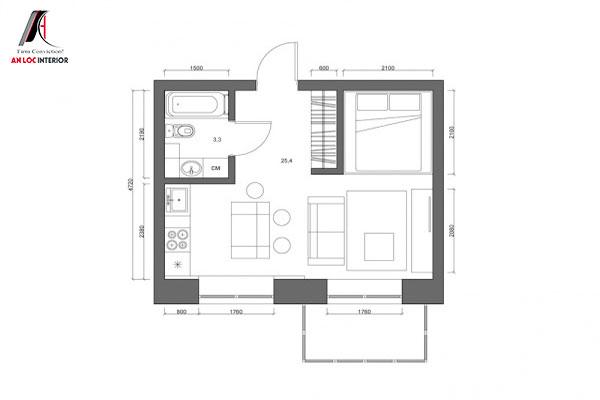 bản phác thảo thiết kế căn hộ 30m2