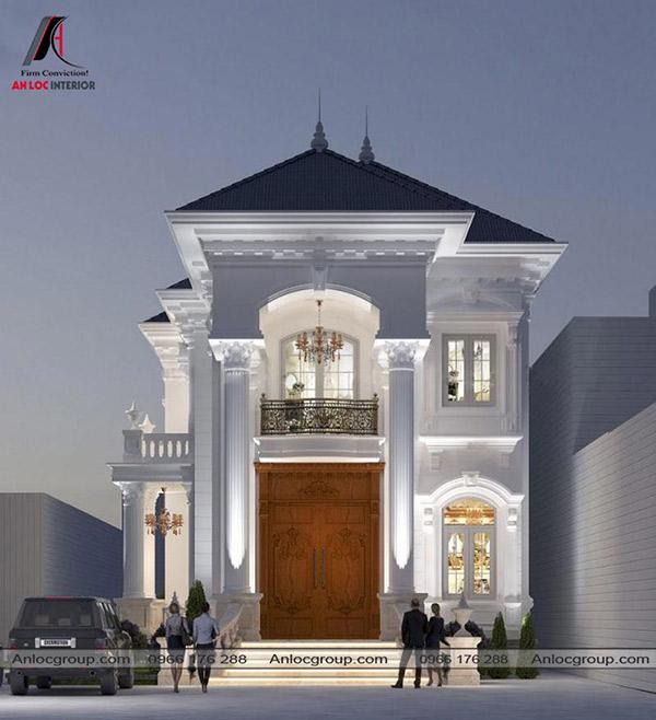 Biệt thự 2 tầng hiện đại mái thái theo phong cách tân cổ điển