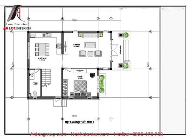 Bản vẽ mặt bằng thiết kế biệt thự 2 tầng 3 phòng ngủ đẹp, chi tiết
