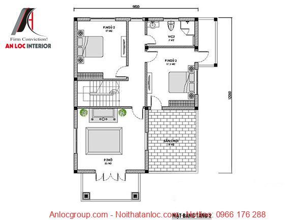Bản vẽ chi tiết các thông số kỹ thuật biệt thự 2 tầng