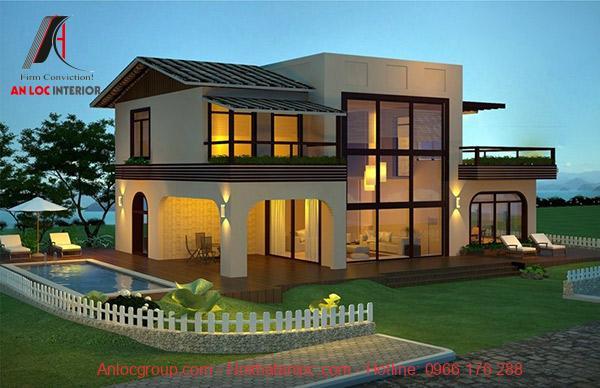 Thiết kế biệt thự mini 2 tầng 80m2 đẹp với kiến trúc ấn tượng, mới lạ