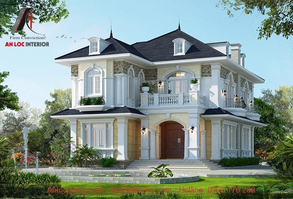 Mẫu biệt thự 2 tầng tân cổ điển mái thái đẹp, hiện đại