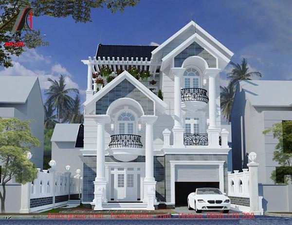Mẫu biệt thự mini 3 tầng tân cổ điển với sắc trắng sang trọng và họa tiết trang trí thu hút